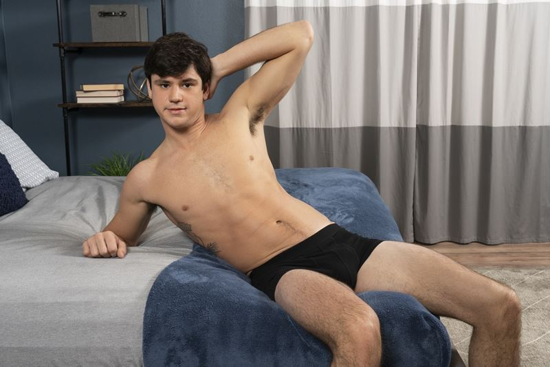 Hot young stud Sean Cody Georgie strips off board shorts wanking hard erect cock 007 gay porn pics - Hot young stud Sean Cody Georgie strips out of his board shorts wanking his hard erect cock
