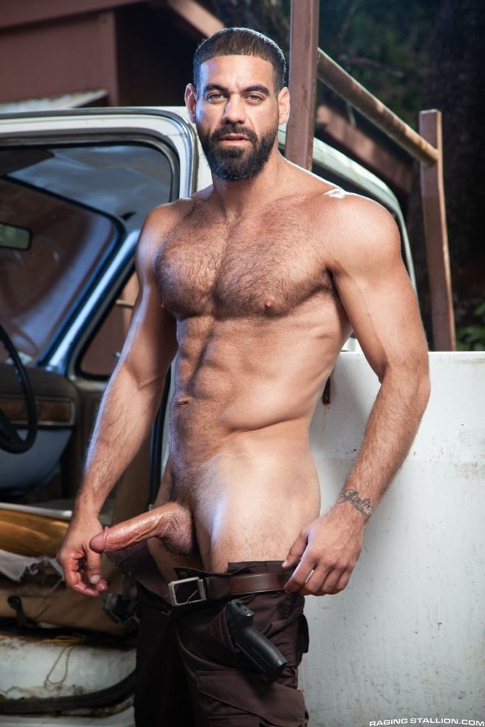 Hairy hunk gay porn star Ricky Larkin strips naked thick 9 inch dick 003 gay porn pics 683x1024 - Hairy hunk Ricky Larkin strips naked exposing his thick 8.5 inch dick
