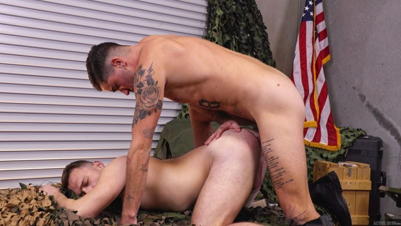 Active Duty young army stud Justin Lewis hot hole raw fucked ripped muscle hunk Chris Damned huge erect cock 001 gay porn pics - Active Duty young army stud Justin Lewis's hot hole raw fucked by ripped muscle hunk Chris Damned's huge erect cock