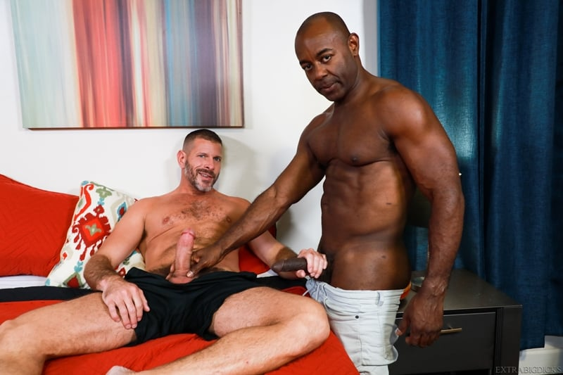 Ebony muscle hunk Aaron Trainer big black cock Clay Towers tight ass 001 porn pics gay - Ebony muscle hunk Aaron Trainer pushes his big black cock into Clay Towers' tight ass