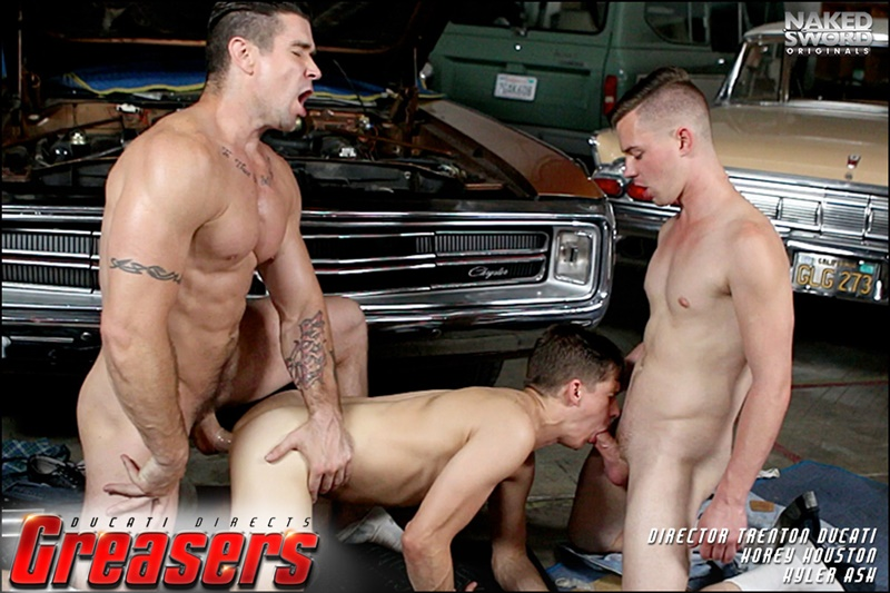 NakedSword Young greasers sexy young naked dudes Kyler Ash Kory Houston flip flop fucking daddy Trenton Ducati spit roast 001 gay porn sex gallery pics video photo - Young grease monkeys Kyler Ash and Kory Houston flip flop fucking with boss daddy Trenton Ducati