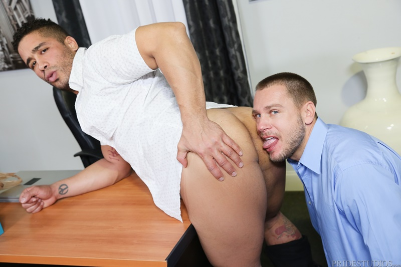 PrideStudios sexy nude dudes Trey Turner rims ass huge large massive cock Hans Berlin tight muscled ass hole cocksucking anal rimming 001 gay porn sex gallery pics video photo - <div>Trey Turner rims his ass then shoves his huge cock deep inside Hans Berlin's eager ass</div>