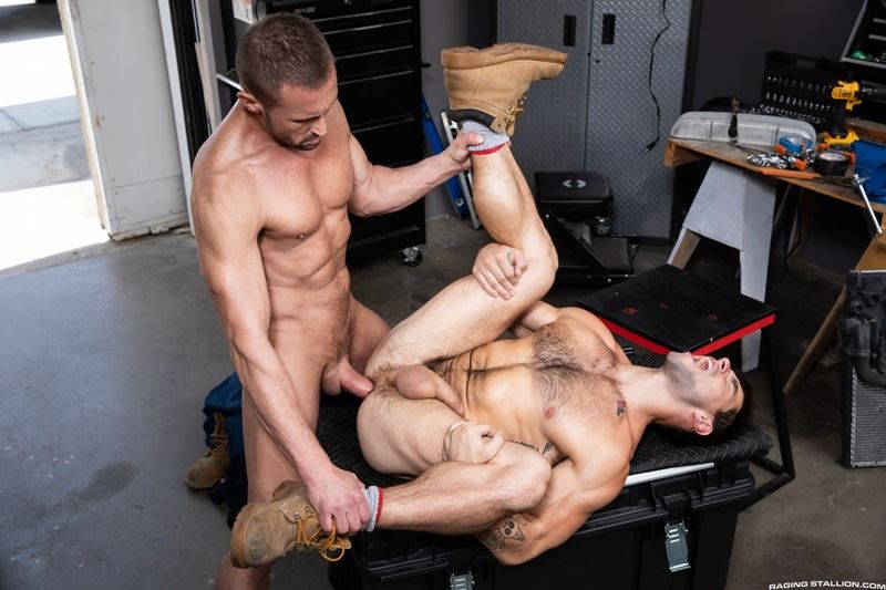 Raging Stallion sexy hairy chested stud Aspen asshole bare fucked muscle hunk Myles Landon huge raw dick 001 gay porn pics - Raging Stallion sexy hairy chested stud Aspen's asshole bare fucked by muscle hunk Myles Landon's huge raw dick