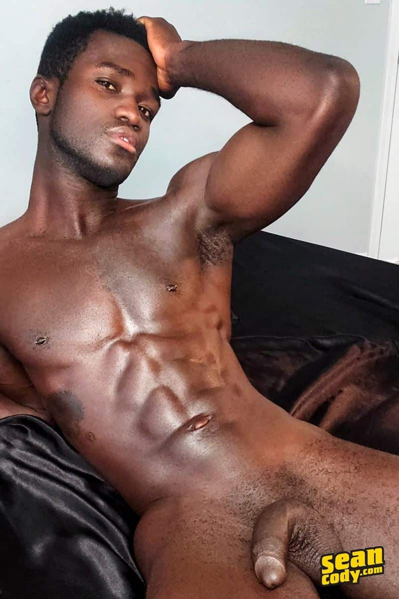 Sexy ebony muscle stud Sean Cody Max strips naked tight jeans shorts stroking huge cum shot 001 gay porn pics - Sexy ebony muscle stud Sean Cody Max strips out of his tight jeans shorts stroking out a huge cum shot